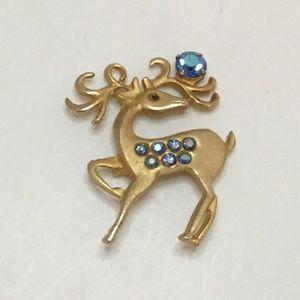 Vintage Deer Brooch Blue Rhinestones Gold Tone